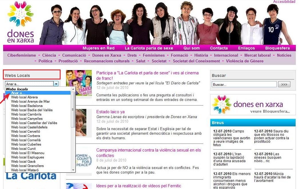 Webs locals de Dones en Xarxa